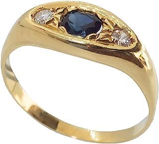 Anillo hombre oro 18 ct 750 con zafiro central y diamantes anillo hombre meñique anillo hombre 18