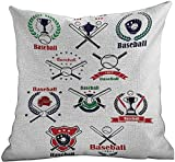 DKISEE Modern Pillowcase Sports, Baseball Gloves Balls Crossed Bats and Trophy Cups Stars Emblem Sports Design, Indigo Red Green, for Sofa Bed 26x26 inch