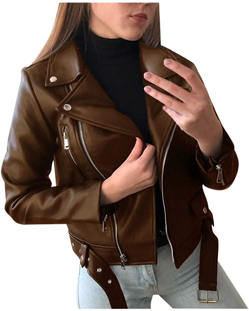 Ladies Faux Leather Jacket,Lapel Slim Fit Motorcycle Zip Up Long Sleeve Short Coat Jacket Outwear