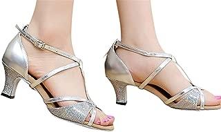 Fainosmny Summer Sandals Mid Heel Womens Wedding Pumps Fashion Buckle Strap Work Single Shoes Rumba Waltz Latin Dance Shoes