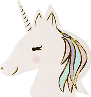 Disposable Paper Cocktail Napkins (50-Pack) - Unicorn Die-Cut Shaped Design with Gold Foil, 3- Ply, Folded: 6.5 x 6.3 Inches