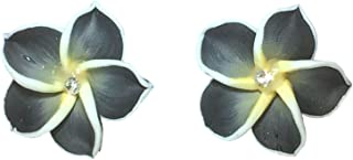 Soft Ceramic Clay Hawaiian Hibiscus Flower Post Earrings Black, White and Yellow Fashion Novelty Jewelry
