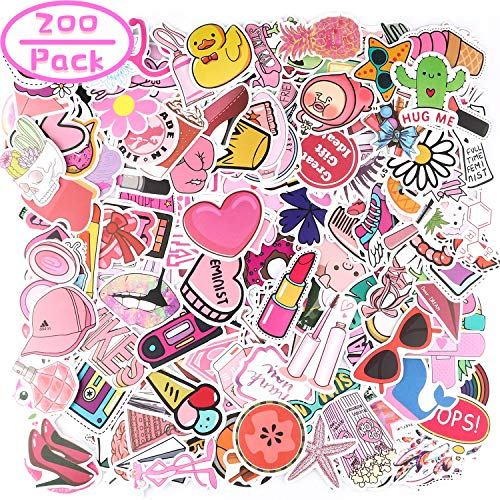 200 Pcs Cute Stickers, Tinabless Pink Vsco Stickers for Water Bottles, Laptop Stickers Pack Cute Aesthetics Stickers for Teens, Girls, Women, Vinyl Stickers Waterproof