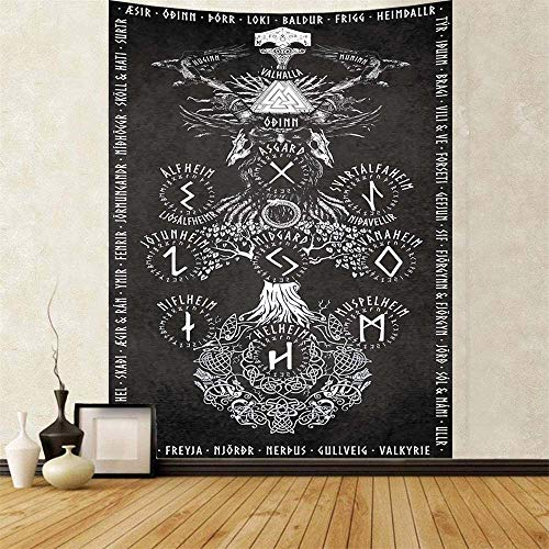 Puurbol Viking Norse Tapestry For Bedroom Aesthetic Mythology Runes Tapestries Wall Hanging Large 79x59inch