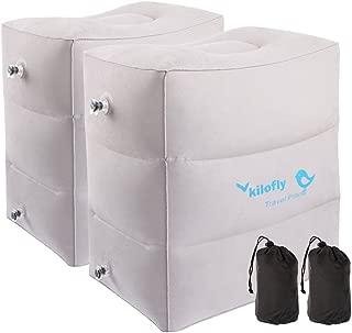 kilofly 2pc Inflatable Foot Rest Adjustable Car Plane Camp Leg Air Travel Pillow