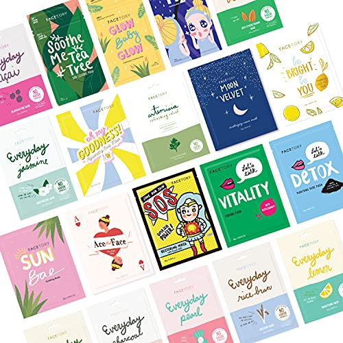FaceTory Mask Collection- Sheet mask (20pc)   Gentle, Calming, Soothing, Hydrating and Moisturizing Sheet Masks