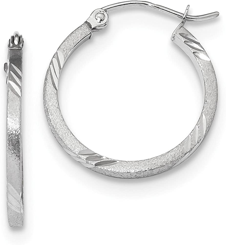 Jewels By Lux Deluxe 14k White Gold Satin Square Hoop Tube Earrin Super beauty product restock quality top D C