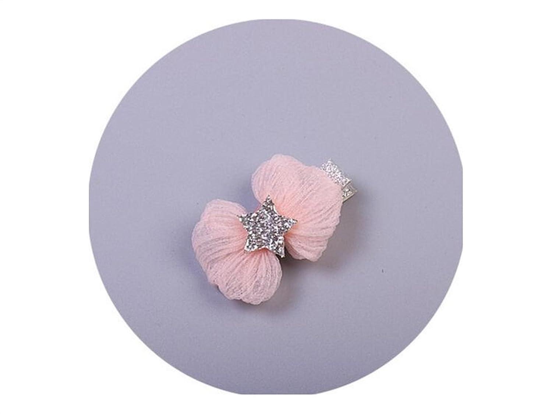 Osize 美しいスタイル 雪糸ボウヘアクリップサイドクリップヘアアクセサリースタイリングツール(ピンクスターズ)