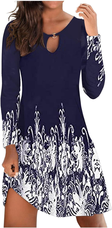 Hemlock Women Long Sleeve Dress Slim Office Work Dress Solid/Floral Short Dresses Beach Mini Dress