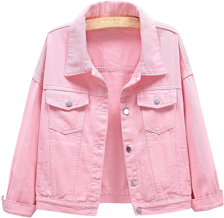 Haellun Womens Casual Lapel Basic Jean Long Sleeve Button Down Denim Jacket Coat