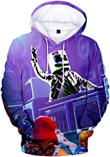 Mogogo Men's Relaxed Fit Tshirt Stylish 3D Funny Print Hooded Sweatshirt