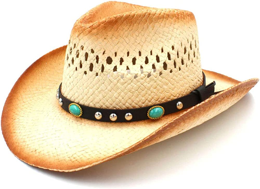 Women Men Western Cowboy Hat With Bargain sale Leather D Straw Max 61% OFF Band Punk Lady