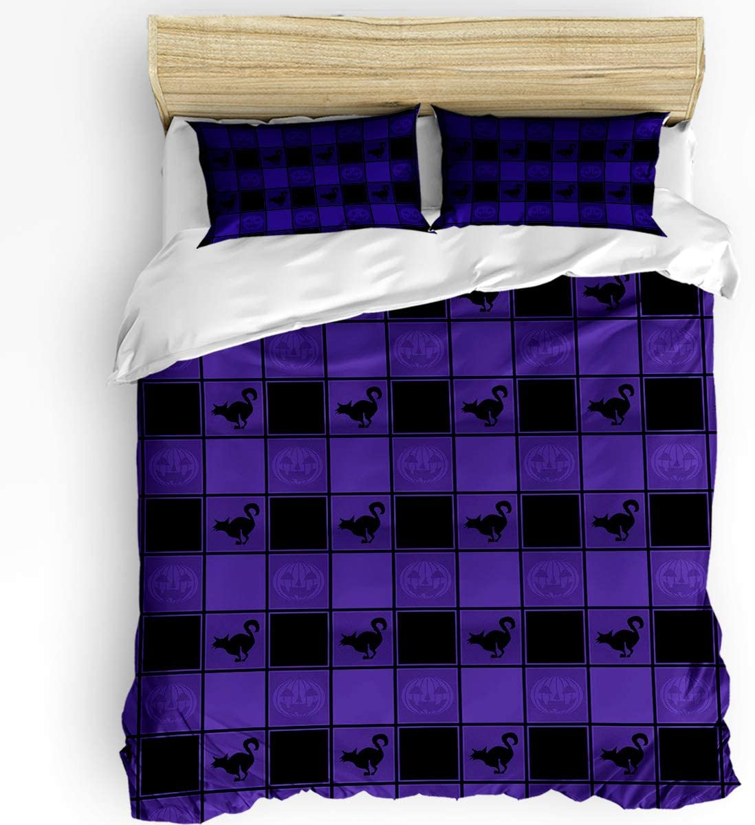 Safety and trust Halloween Check Plaid Minneapolis Mall with Cat Bedding Duvet Sets 3 Covers Piece