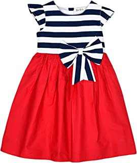 6a53c21a Bella Moda Round Neck Red Color Cape Sleeves Casual Printed A- Line Dress  for Girls