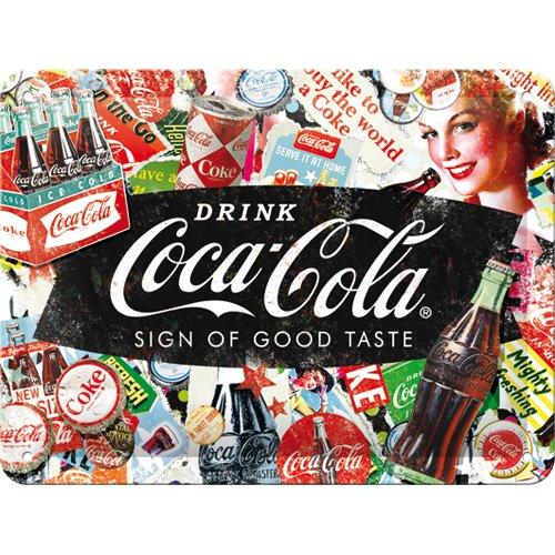 Nostalgic-Art 26227 Coca-Cola-Collage | Retro Schild | Wand Metall Blechschild 15x20 cm, Vintage-Design zur Dekoration, 15 x 20 x 0.2 cm