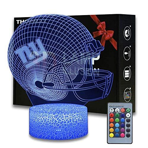 NFL Team 3D Optical Illusion Smart 16 Farben LED-Nachtlicht Tischlampe mit USB-Stromkabel (New York Giants)