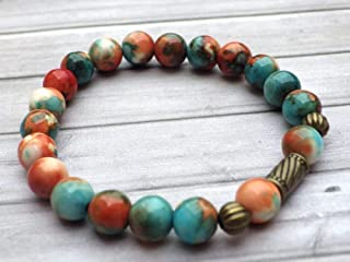 Bracelet tibétain pour femme style vintage en perles de jade blanc naturel teinté en marron, orange et bleu, perles en bro...