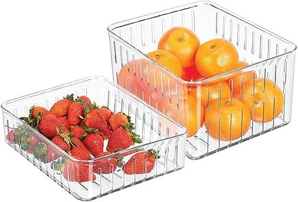 Guardatodo para el hogar mDesign Juego de 2 Cajas organizadoras con Tapa Caj/ón para Nevera tambi/én Adecuado para la Cocina o el lavadero Transparente Contenedor de pl/ástico Libre de BPA
