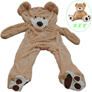 Life Size Huge Plush Teddy Bear Unstuffed Soft Giant Animal Toy (63 inch/ 5.2 feet), DIY Brown Bear for Children/ Girls Wi...