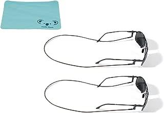 Croakies Premium Leather Eyewear Retainer Eyeglass Strap Cord | Thin Sunglass & Glasses Holder Keeper Lanyard | 2pk Bundle + Cloth, Brown