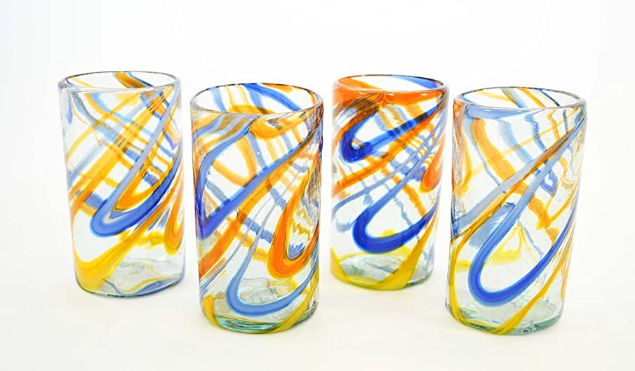 SET OF 4, BLUE AND ORANGE SWIRL ICE TEA GLASSES, 16 OUNCES. RECYCLED GLASS. HANDMADE.