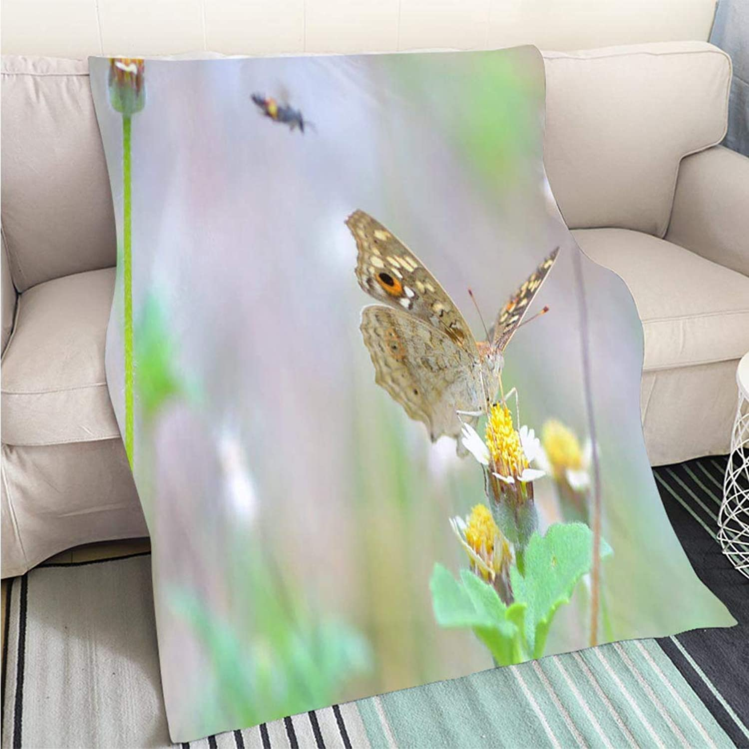 Creative Flannel Printed Blanket for Warm Bedroom a Butterfly Perched on Flower Perfect for Couch Sofa or Bed Cool Quilt
