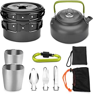 YSCYLY Utensilios Cocina CampingUtensilios de Cocina de 9 Piezas con Tetera Taza mosquetóncon Mango Plegable Y Tapa Ut...