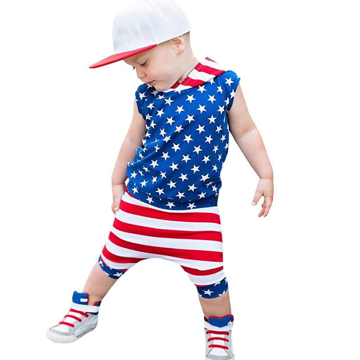 ★QueenBB★ 4th of July Children's Outfits for Boys Baby American Flag 4th of July T-Shirt Vest Tops+Harem Pants 2Pcs Set