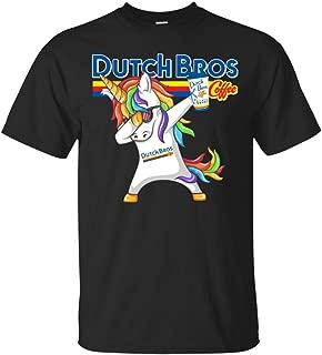 ikute Dutch Bros Unicorn Dabbing T-Shirt for Men