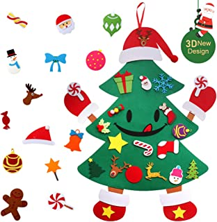 KERIQI Playful 3ft DIY Felt Christmas Tree, Hands and Feet Felt Christmas Tree Ornaments with 30pcs Detachable Ornaments for Toddlers Kids