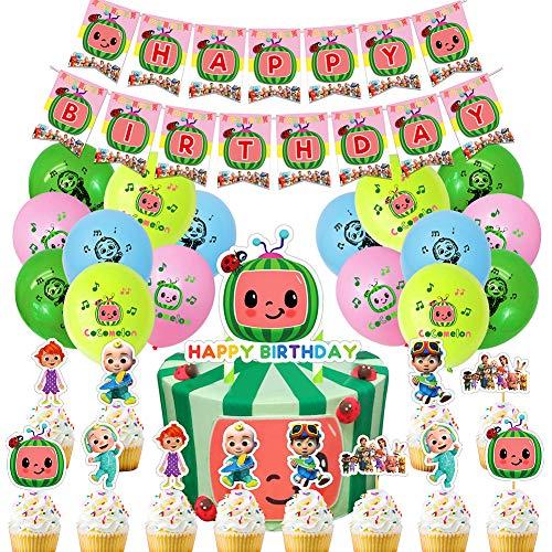 CYSJ Geburtstag Dekoration Set 42 PCS Cocomelon Rotorspiralen Happy Birthday Banner Cake Topper Deko Spirale Konfetti Partykette für Kinder Geburtstags Babyparty Hochzeits Abschluss Party