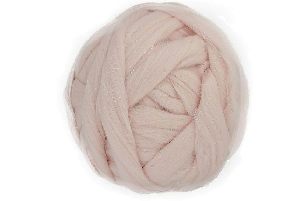 Charmkey Natural Soft Super Fatty Chunky Giant Blanket 100% Australian Merino Wool Tops Extreme Arm Knitting Roving Yarn Silk Fiber Spinning for Mega Pillow Cushion, 35 oz/ 2.2 Lb (Blushing Bride)
