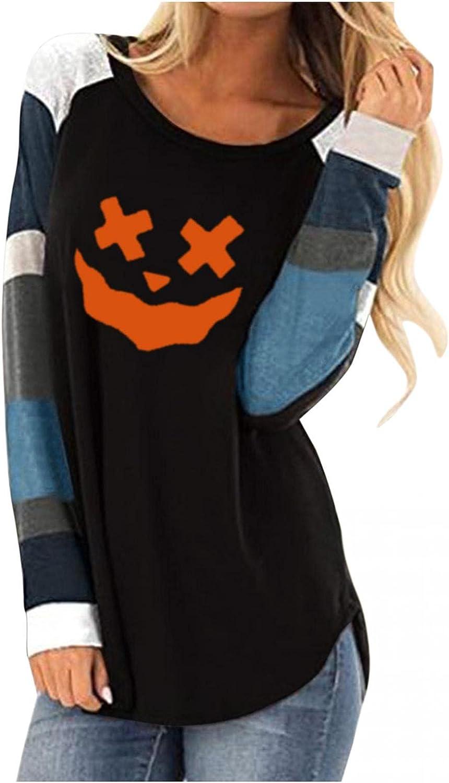 lucyouth Halloween Shirts for Women Long Sleeve Crewneck Pumpkin