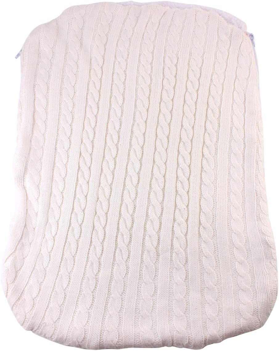 Wallfire Beb/é Grueso Envoltura Envoltura de Punto Suave c/álido Forro Polar Forro Saco de Dormir Manta Infantil Cochecito Infantil Saco de Dormir Color : Beige