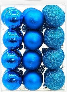 Pausseo 24Pcs/Set Christmas Balls Baubles Party Xmas Tree Decoration Hanging Pendant Merry Christmas Party Ornament Xmas Tree Display DIY Creative Foam Home Decor Gift Festival Prop Kit (Sky Blue)