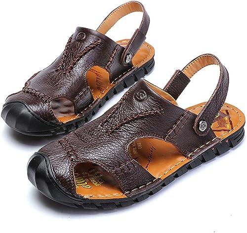 Pessica Baotou Leather Sandals pour Hommes, Sandales Imperméables Occasionnels en Plein Air, Délicats Et élastiques, Main Lisse,marron,EU44UK10