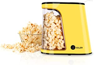 Hot Air Popcorn Machine, ISILER 1200W Electric Popcorn Maker, 2 Minute Fast Popcorn Popper with Container & Measuring Cup, Oil-Free,BPA-Free & ETL Certified, Use Popcorn Kernels