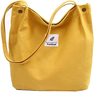 Funtlend Damen Handtasche Groß Canvas Tasche Damen Umhängetasche Henkeltasche Damen für Mädchen Schule Uni-Upgraded-40 * 3...