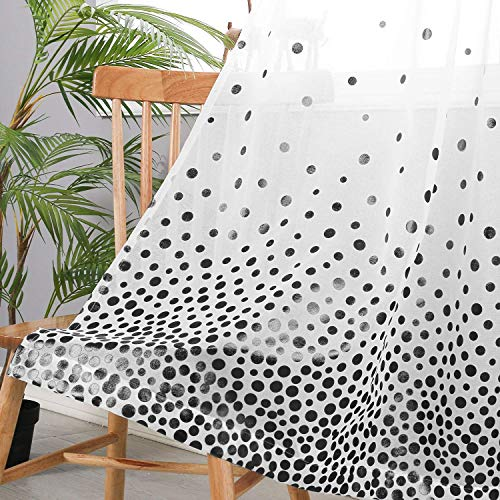 Hiasan Polka Dots Foil Printed Sheer Curtains for Living Room - Faux Linen Grommet Voile Confetti Window Curtains for Bedroom and Kids Room, 52 x 84 Inch Long, Black, Set of 2 Curtain Panels