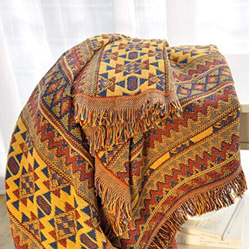 Cotton Blanket, Bohemian Cotton Woven Blanket Throw with Fringe, Multi-fountion Sofa Towel Knitted Couch Blanket Throw for Bed Chair Home Office Travel