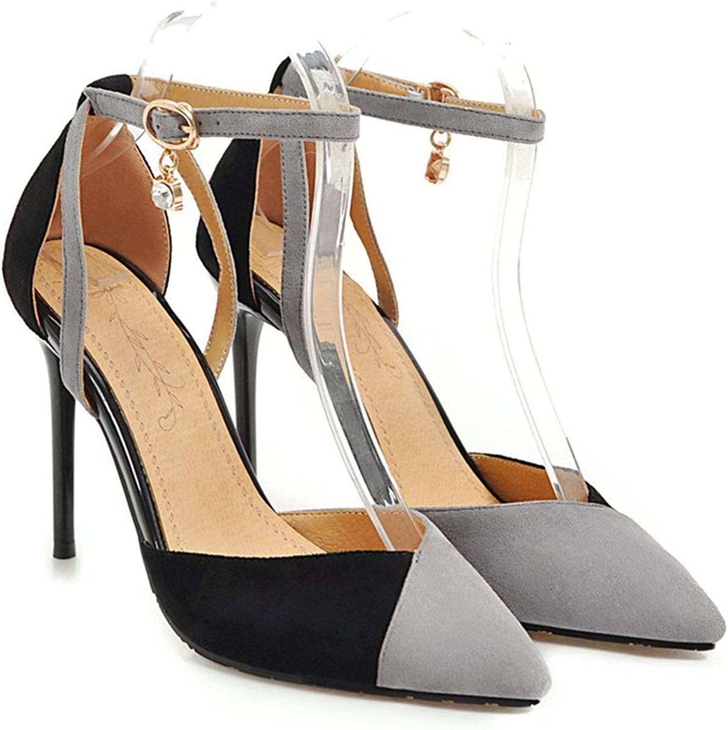 Sam Carle Womens Wedding Pumps,Pointed Toe High Heel Crystal Square Buckle Sexy Shallow Mouth shoes