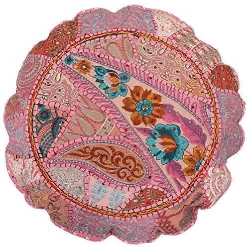 Cojín de suelo redondo indio algodón patchwork otomano cubierta bohemia hecha a mano asiento asiento taburete decoración del hogar