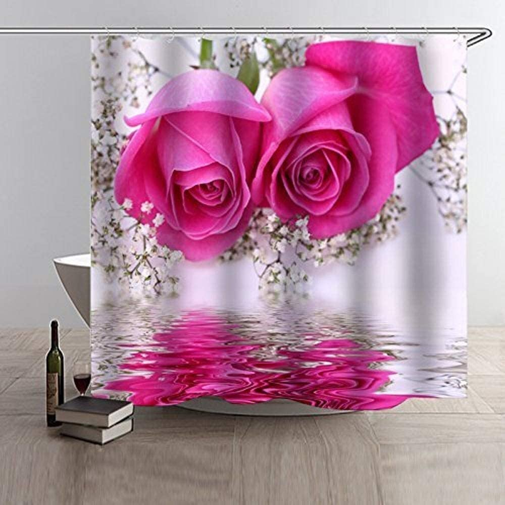 MISC Polyester Cash special price Shower Manufacturer OFFicial shop Curtain with Hooks Roses Floral Pink 72