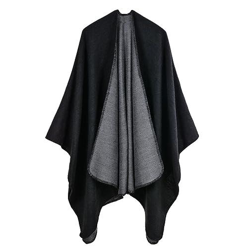 a1f682533 VamJump Women V Cut Reversible Tassel Knitted Large Poncho Capes Wrap Shawl
