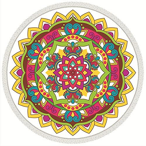 HUSTLE Toalla De Playa Grande Redonda De Microfibra Mandala, Suave Absorbente De Secado Rápido Sin Arena Tapete De Yoga Mantel De Pared Tapiz De Decoración De Pared con Borlas (60)
