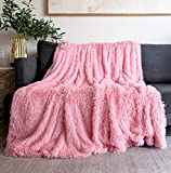 Faux Fur Blanket Cover Bed,Sofa,Couch,50' X 60',Fuzzy Blanket for Couple,Sweet Love Fur Blankets for Valentine's Day,Mother's Day Decorative Throw Blanket,Pink