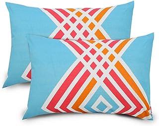 Ahmedabad Cotton 144 TC Pillow Covers Set, Multi-Colour, ACPC00117, Pack of 2