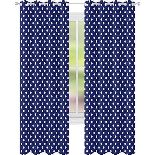 Cortinas opacas – aislamiento de juntas, patrón con lunares blancos en un azul marino azul oscuro fondo vintage azulejo, 52 x 95 cortinas para sala de estar, blanco azul marino