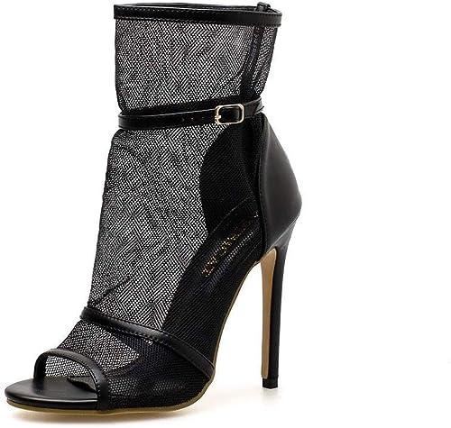 Chenyuan botas geniales de Punta Abierta para mujer, con Tacones ultraaltos y Huecos Ultra Altos (Color   negro, Talla   38)