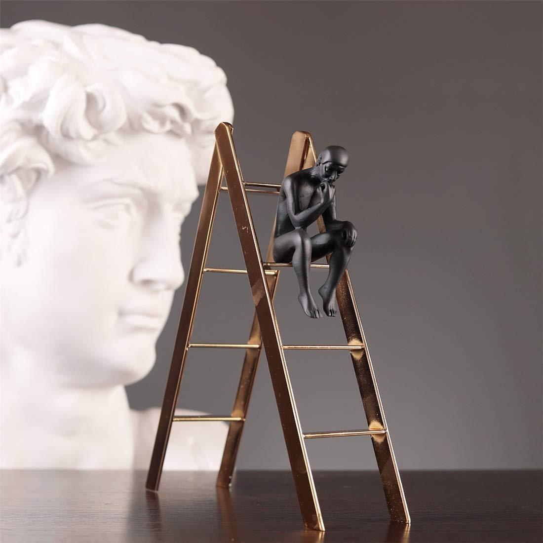 KSW_KKW Hombre Negro Escalera Estatua Figuras de Resina Escultura Obra Inicio Mesa Gabinete Decoración de Arte Figuras de Escritorio Modernas: Amazon.es: Hogar
